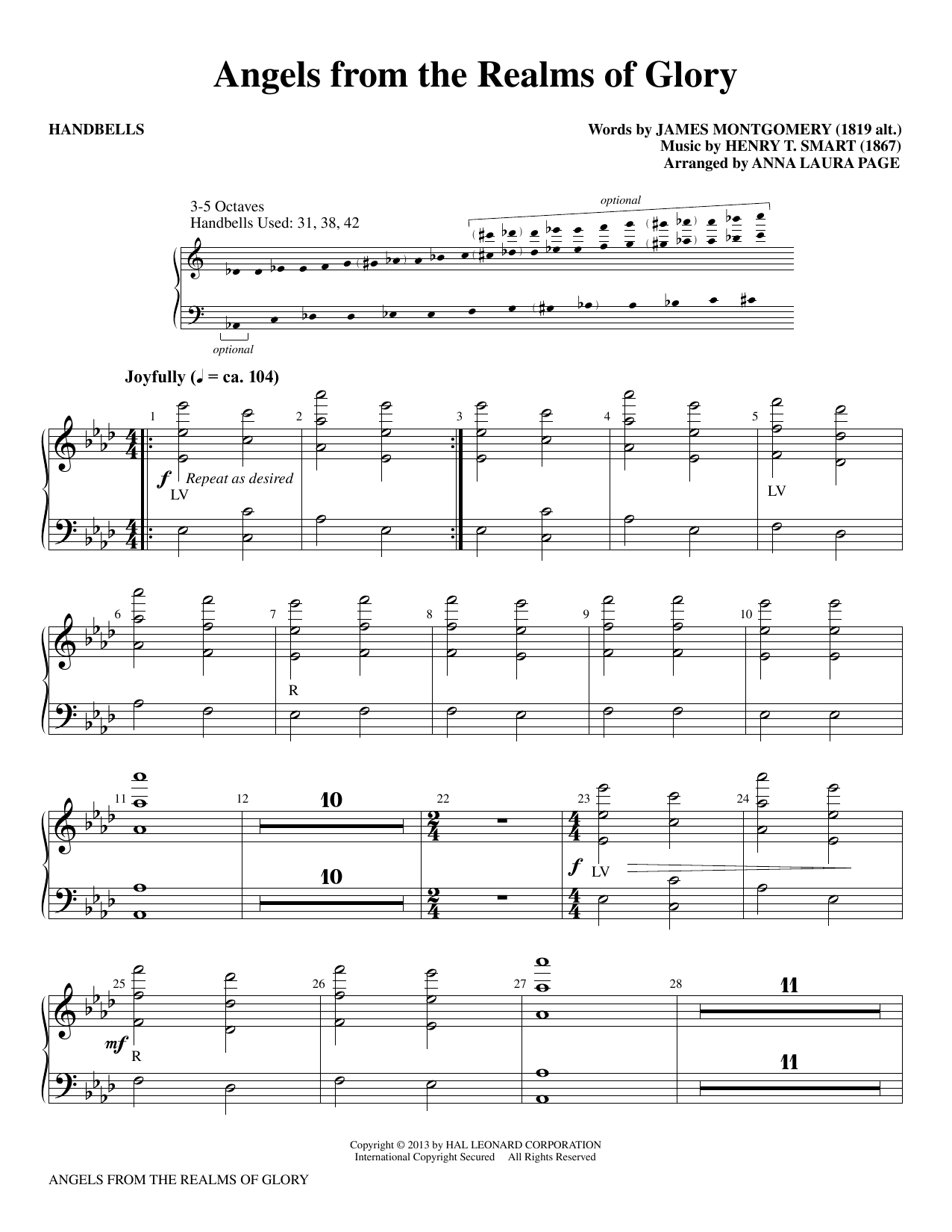 Download Anna Laura Page 'Angels From The Realms Of Glory' Digital Sheet Music Notes & Chords and start playing in minutes