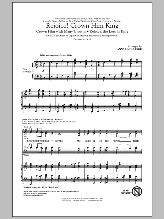Download Anna Laura Page 'Rejoice! Crown Him King' Digital Sheet Music Notes & Chords and start playing in minutes