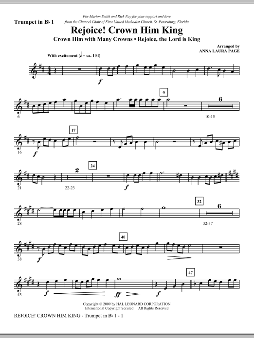 Download Anna Laura Page 'Rejoice! Crown Him King - Bb Trumpet 1' Digital Sheet Music Notes & Chords and start playing in minutes