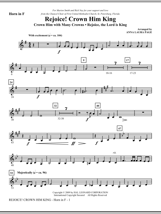 Download Anna Laura Page 'Rejoice! Crown Him King - F Horn' Digital Sheet Music Notes & Chords and start playing in minutes
