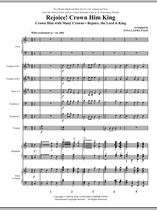 Download Anna Laura Page 'Rejoice! Crown Him King - Full Score' Digital Sheet Music Notes & Chords and start playing in minutes
