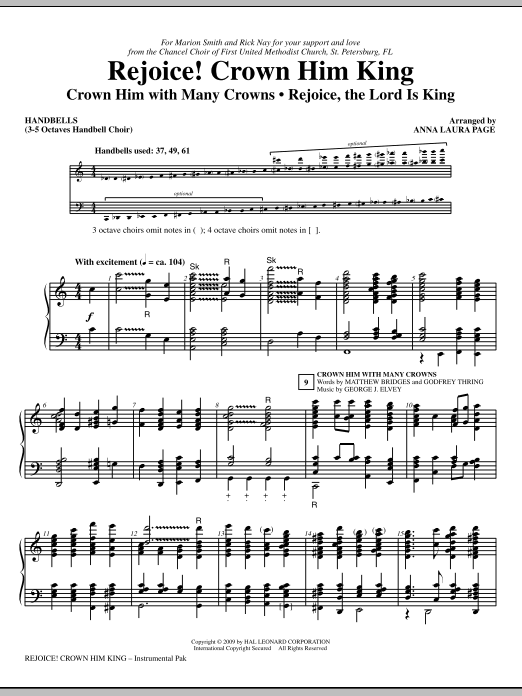 Download Anna Laura Page 'Rejoice! Crown Him King - Handbells' Digital Sheet Music Notes & Chords and start playing in minutes