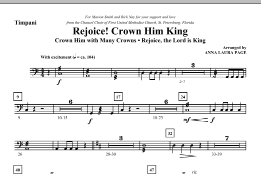 Download Anna Laura Page 'Rejoice! Crown Him King - Timpani' Digital Sheet Music Notes & Chords and start playing in minutes