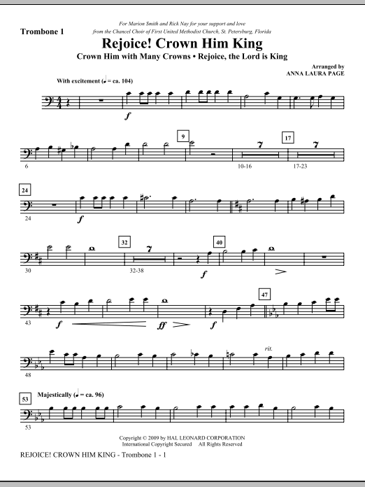 Download Anna Laura Page 'Rejoice! Crown Him King - Trombone 1' Digital Sheet Music Notes & Chords and start playing in minutes