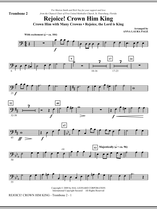 Download Anna Laura Page 'Rejoice! Crown Him King - Trombone 2' Digital Sheet Music Notes & Chords and start playing in minutes