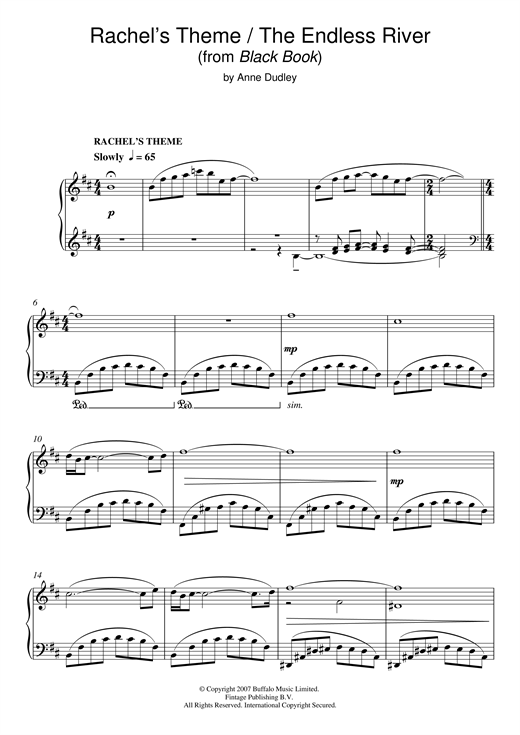 Download Anne Dudley 'Rachel's Theme/The Endless River (from Black Book)' Digital Sheet Music Notes & Chords and start playing in minutes