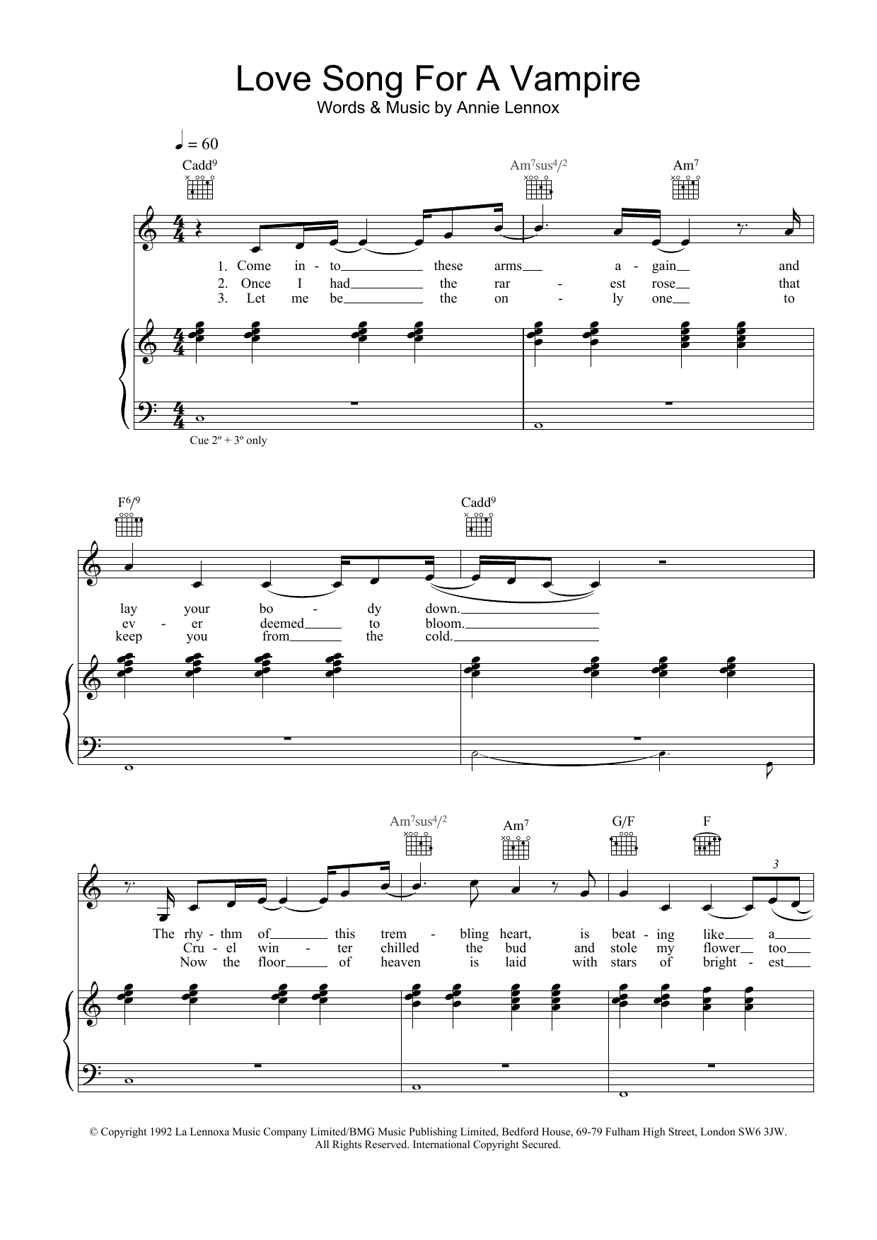 Annie Lennox Love Song For A Vampire sheet music preview music notes and score for Melody Line, Lyrics & Chords including 2 page(s)