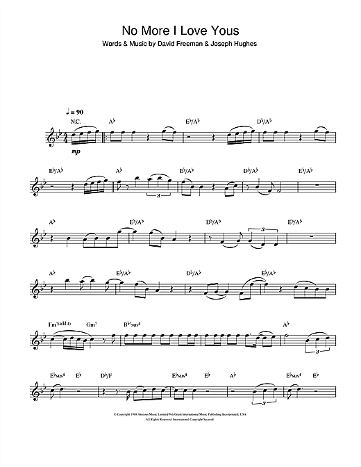 Annie Lennox No More I Love Yous sheet music notes and chords