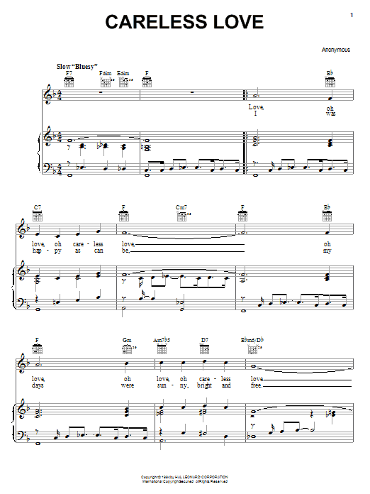Anonymous Careless Love sheet music preview music notes and score for Piano, Vocal & Guitar (Right-Hand Melody) including 2 page(s)
