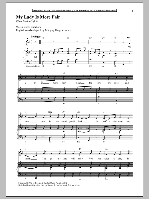 Anonymous My Lady Is More Fair sheet music preview music notes and score for Piano including 2 page(s)