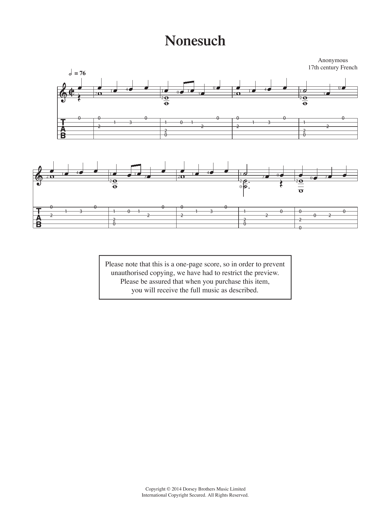 Anonymous Nonesuch sheet music preview music notes and score for Guitar including 2 page(s)