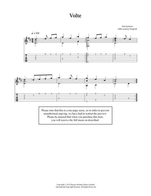 Anonymous Volte sheet music notes and chords