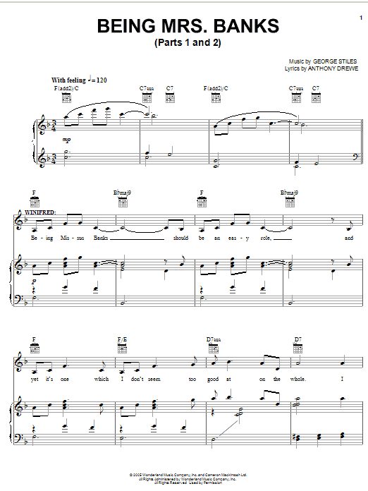 Stiles & Drewe Being Mrs. Banks (Parts 1 and 2) sheet music preview music notes and score for Piano, Vocal & Guitar (Right-Hand Melody) including 7 page(s)