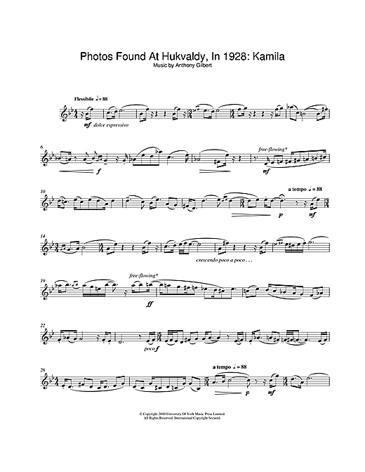 Download Anthony Gilbert 'Photos Found At Hukvaldy, In 1928: Kamila' Digital Sheet Music Notes & Chords and start playing in minutes