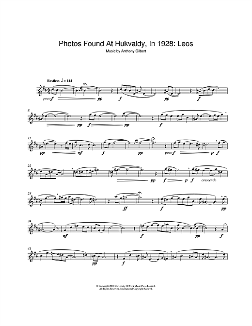 Download Anthony Gilbert 'Photos Found At Hukvaldy, In 1928: Leos' Digital Sheet Music Notes & Chords and start playing in minutes