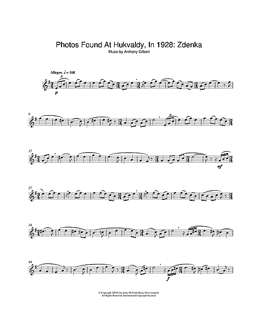 Download Anthony Gilbert 'Photos Found At Hukvaldy, In 1928: Zdenka' Digital Sheet Music Notes & Chords and start playing in minutes
