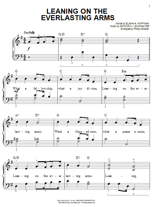 Download Anthony J. Showalter 'Leaning On The Everlasting Arms' Digital Sheet Music Notes & Chords and start playing in minutes