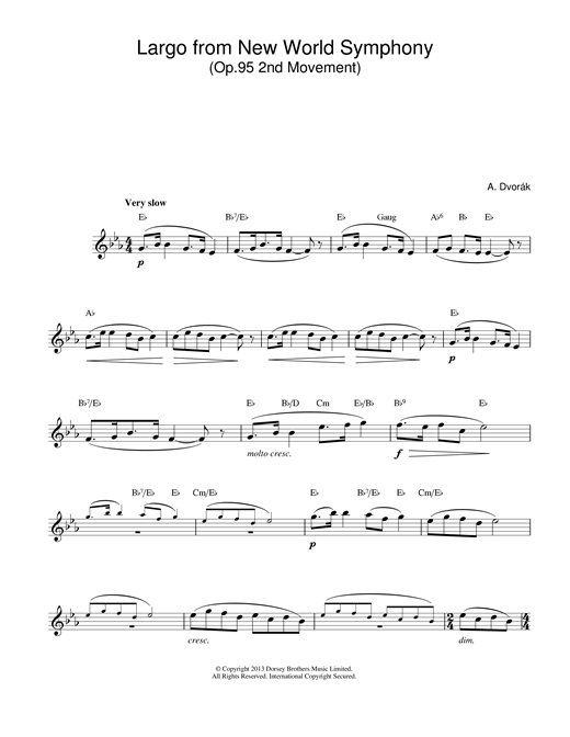 Download Antonin Dvorak 'Largo (from The New World)' Digital Sheet Music Notes & Chords and start playing in minutes