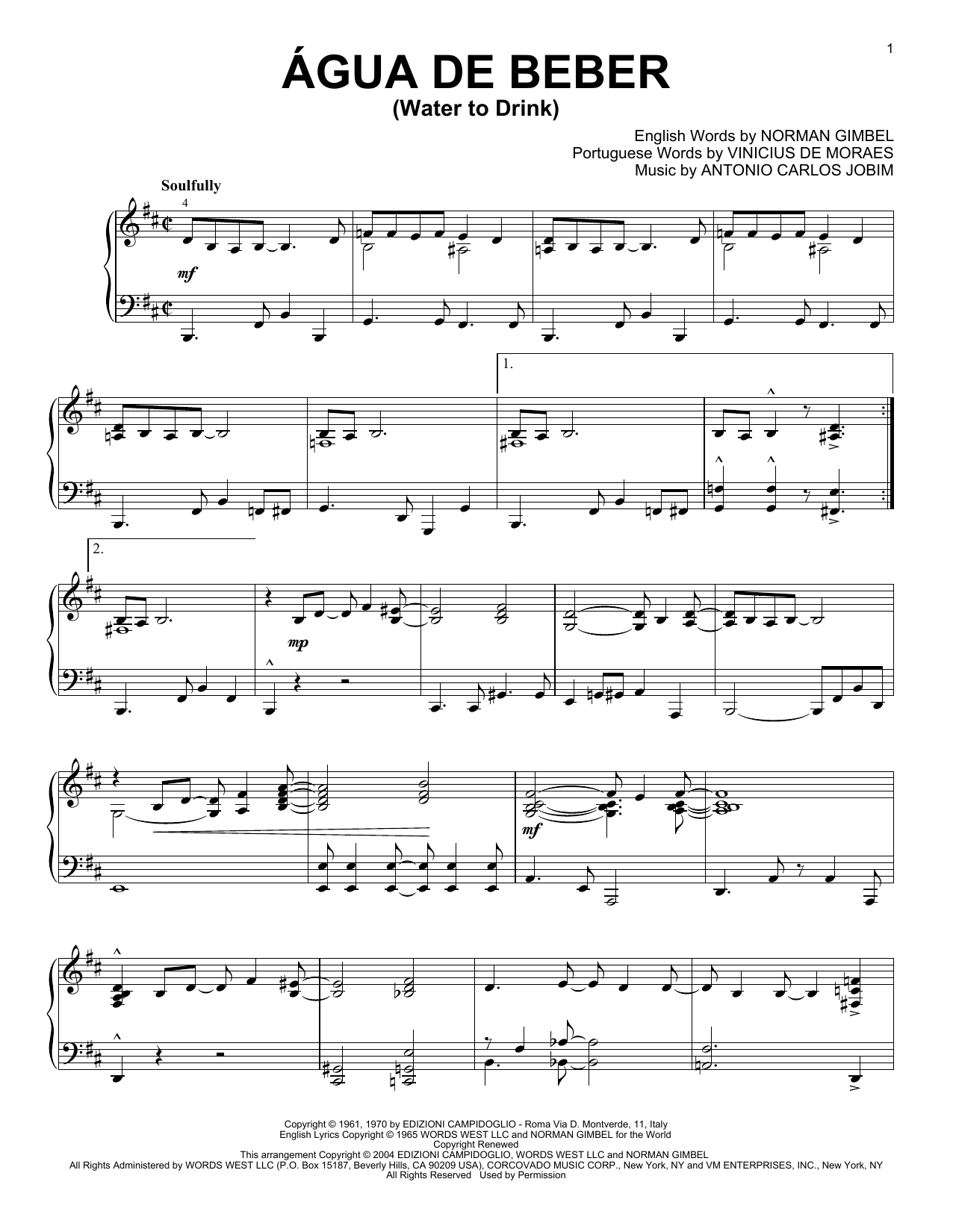 Download Antonio Carlos Jobim 'Agua De Beber (Water To Drink)' Digital Sheet Music Notes & Chords and start playing in minutes