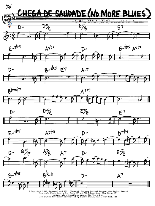 Download Antonio Carlos Jobim 'Chega De Saudade (No More Blues)' Digital Sheet Music Notes & Chords and start playing in minutes