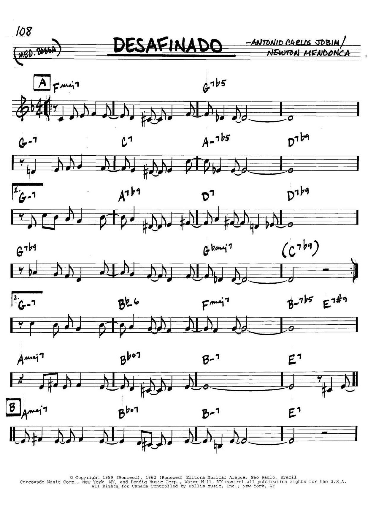 Antonio Carlos Jobim Desafinado (Slightly Out Of Tune) sheet music preview music notes and score for Real Book - Melody & Chords - C Instruments including 2 page(s)