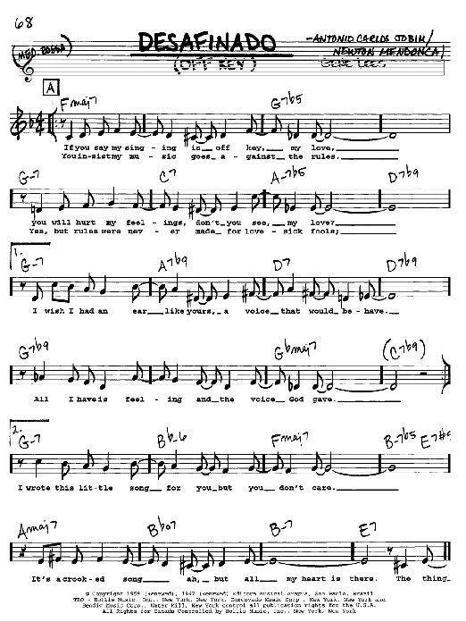 Antonio Carlos Jobim Desafinado (Off Key) sheet music preview music notes and score for Guitar Tab including 6 page(s)