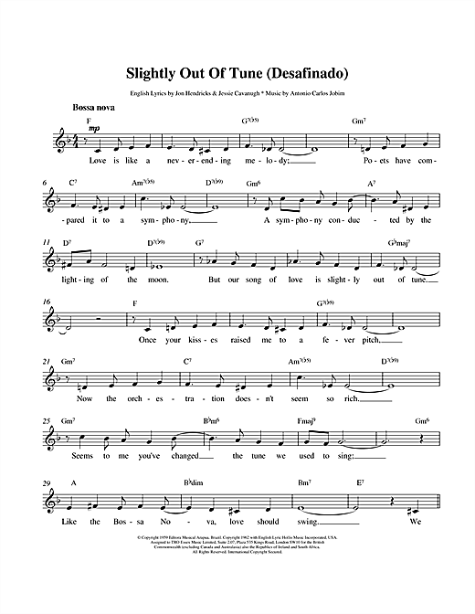Antonio Carlos Jobim Desafinado (Slightly Out Of Tune) sheet music preview music notes and score for Easy Piano including 5 page(s)