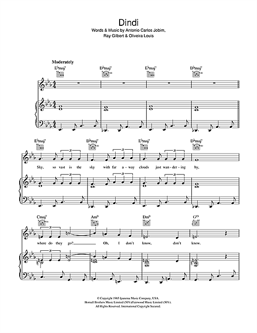 Download Antonio Carlos Jobim 'Dindi' Digital Sheet Music Notes & Chords and start playing in minutes