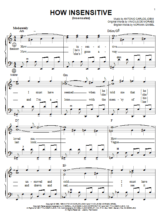 Antonio Carlos Jobim How Insensitive (Insensatez) sheet music notes and chords