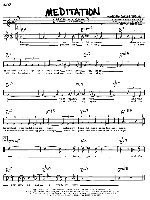Antonio Carlos Jobim Meditation (Meditacao) sheet music preview music notes and score for Piano, Vocal & Guitar (Right-Hand Melody) including 3 page(s)