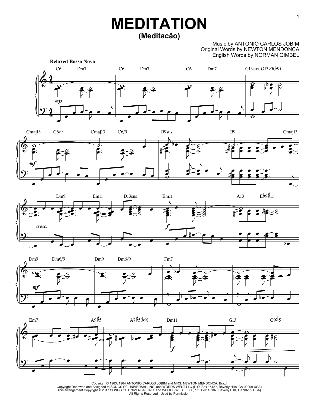 Download Antonio Carlos Jobim 'Meditation (Meditacao)' Digital Sheet Music Notes & Chords and start playing in minutes