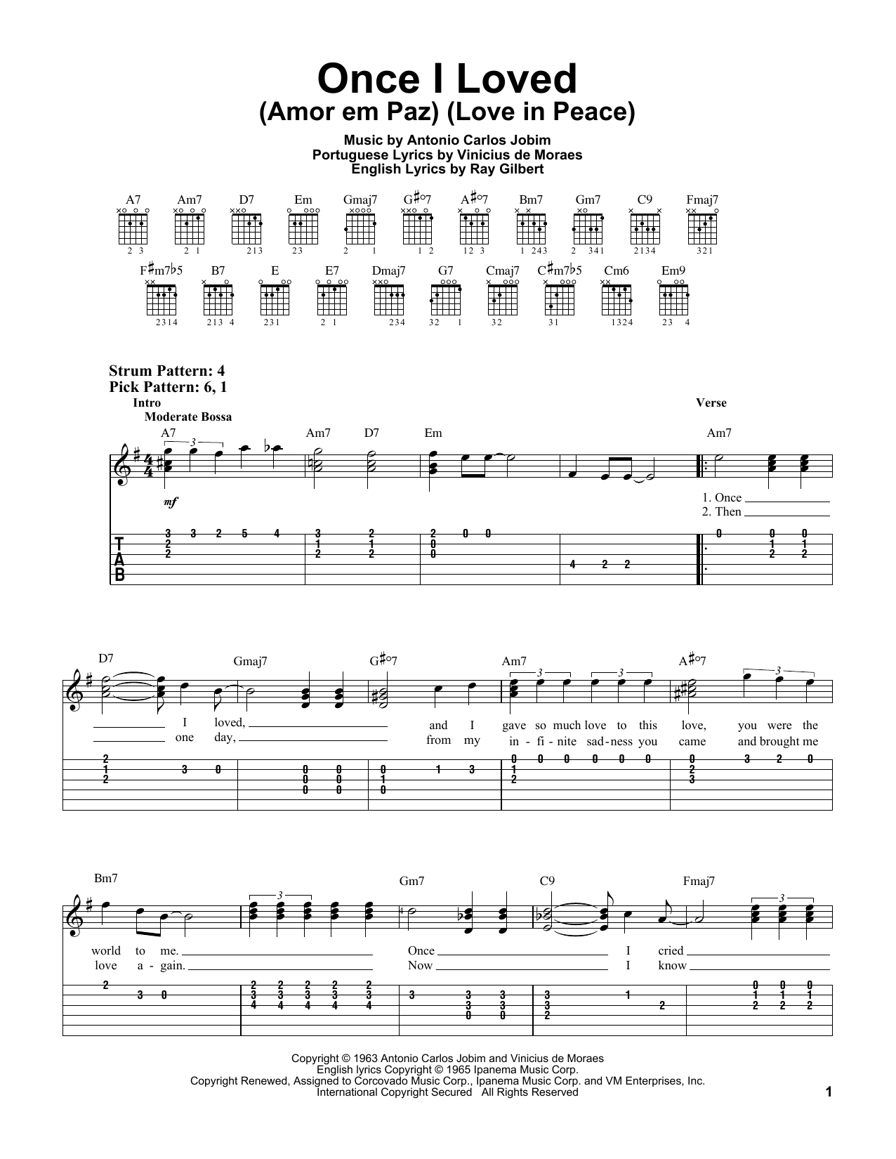 Download Antonio Carlos Jobim 'Once I Loved (Amor Em Paz) (Love In Peace)' Digital Sheet Music Notes & Chords and start playing in minutes