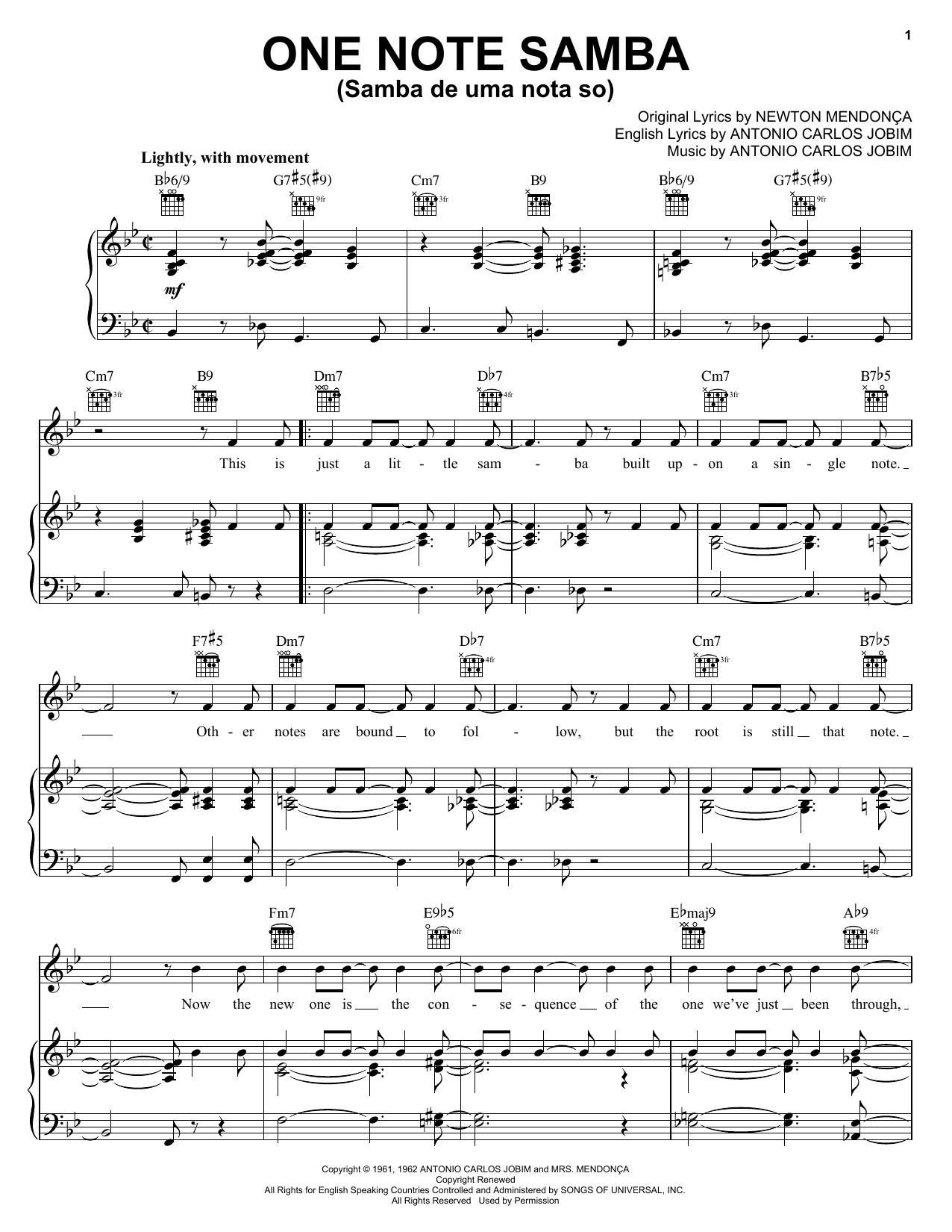 Antonio Carlos Jobim One Note Samba (Samba De Uma Nota So) sheet music preview music notes and score for Guitar Tab including 3 page(s)