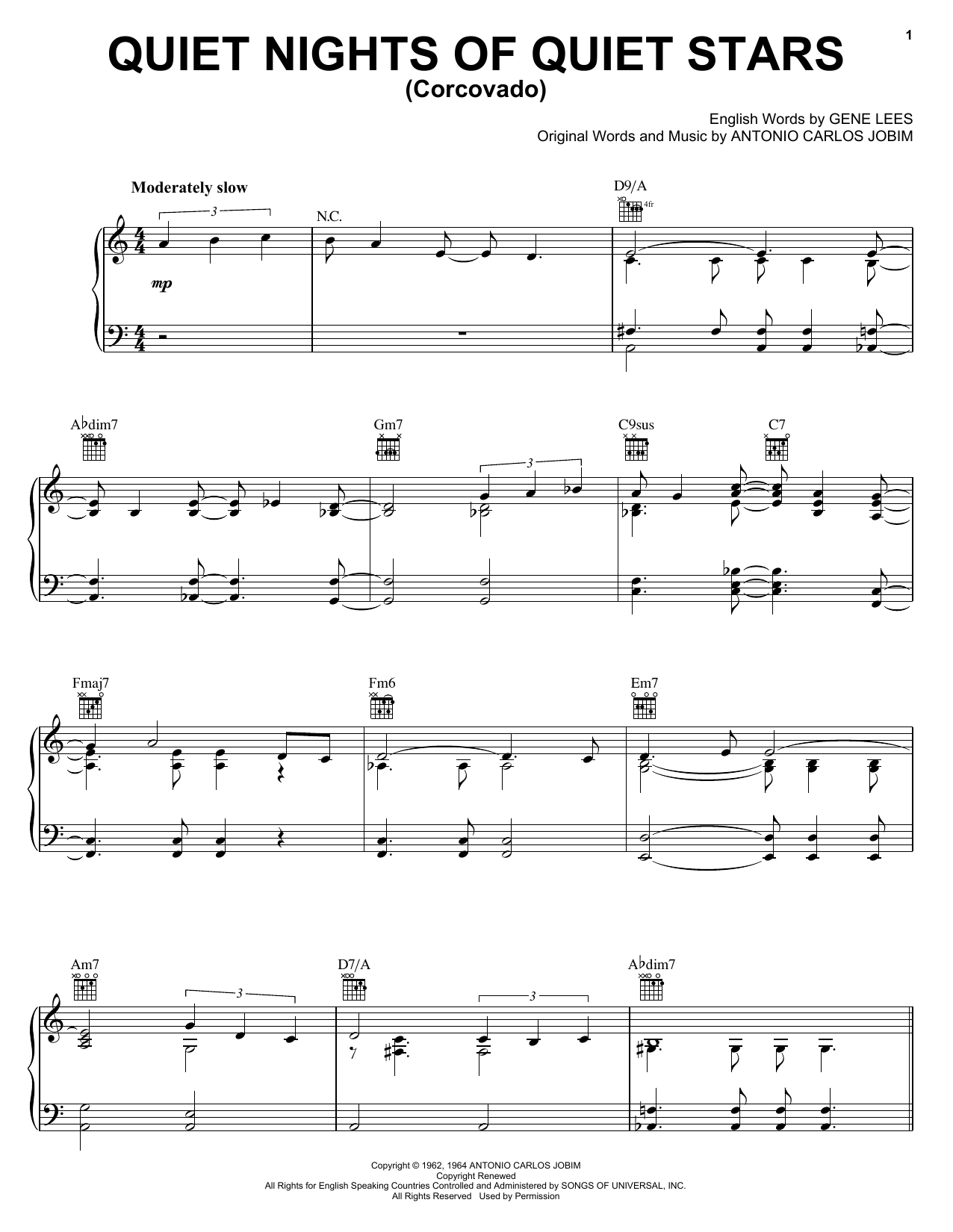 Antonio Carlos Jobim Corcovado (Quiet Nights Of Quiet Stars) sheet music notes and chords