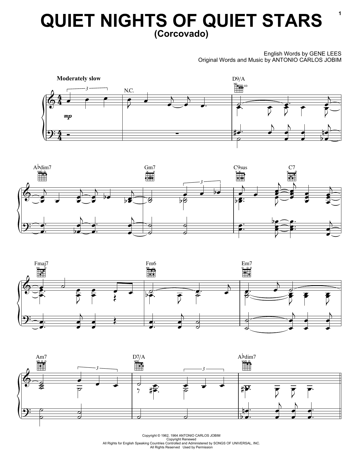 Antonio Carlos Jobim Quiet Nights Of Quiet Stars (Corcovado) sheet music preview music notes and score for Guitar Tab including 4 page(s)