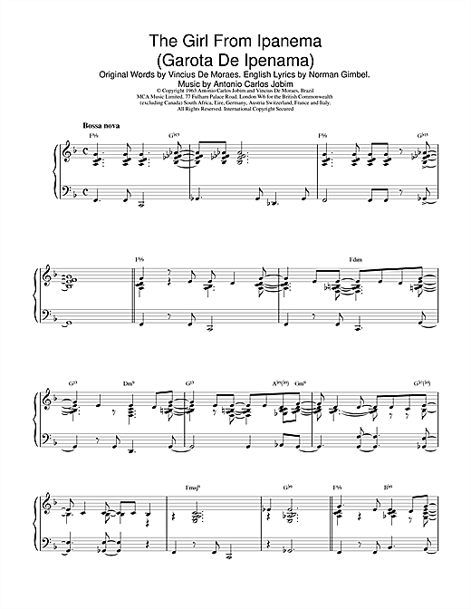 Download Antonio Carlos Jobim 'The Girl From Ipanema (Garota De Ipanema)' Digital Sheet Music Notes & Chords and start playing in minutes
