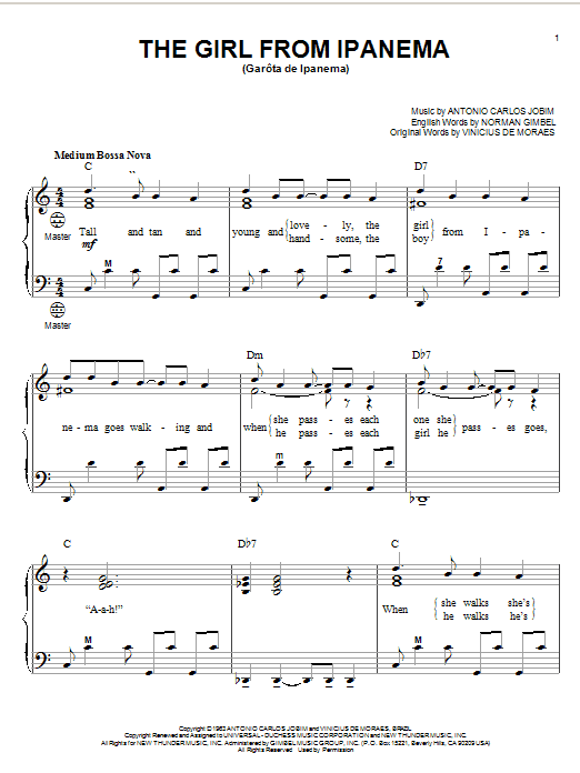 Antonio Carlos Jobim The Girl From Ipanema (Garota De Ipanema) sheet music preview music notes and score for Guitar Tab including 4 page(s)