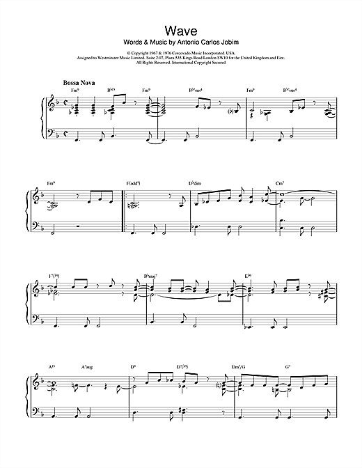 Download Antonio Carlos Jobim 'Wave' Digital Sheet Music Notes & Chords and start playing in minutes