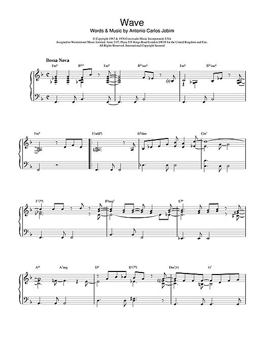 Antonio Carlos Jobim Wave sheet music notes and chords