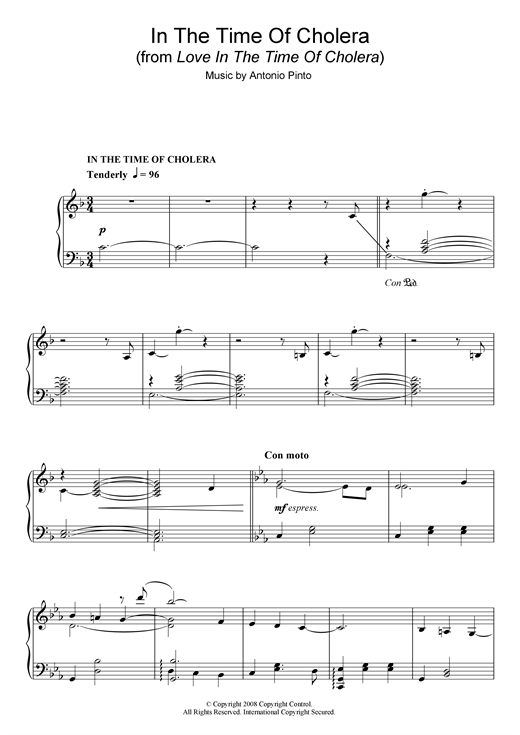 Download Antonio Pinto 'In The Time Of Cholera (from Love In The Time Of Cholera)' Digital Sheet Music Notes & Chords and start playing in minutes