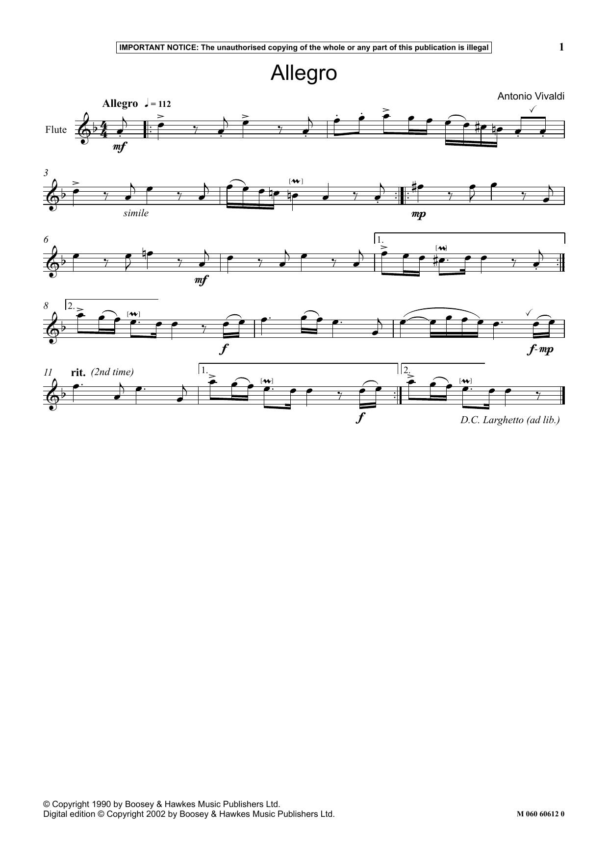 Download Antonio Vivaldi 'Allegro' Digital Sheet Music Notes & Chords and start playing in minutes