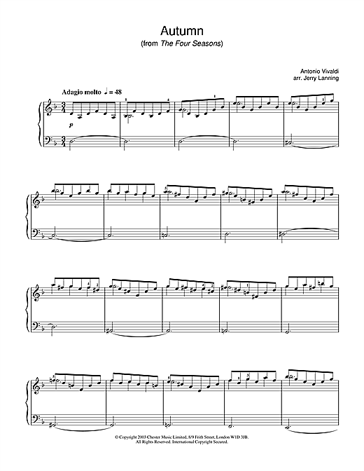 Antonio Vivaldi Autumn, 2nd movement (from The Four Seasons) sheet music notes and chords
