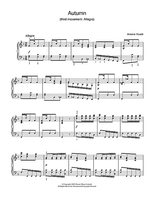 Download Antonio Vivaldi 'Autumn (3rd Movement: Allegro)' Digital Sheet Music Notes & Chords and start playing in minutes