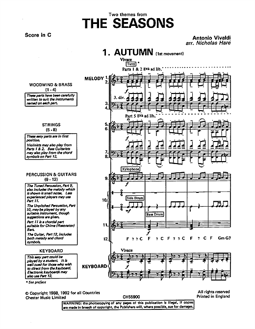 Antonio Vivaldi Autumn and Winter (from The Four Seasons) sheet music preview music notes and score for Classroom Band Pack including 39 page(s)