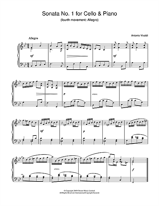 Download Antonio Vivaldi 'Sonata No.1 for Cello & Piano (4th Movement: Allegro)' Digital Sheet Music Notes & Chords and start playing in minutes