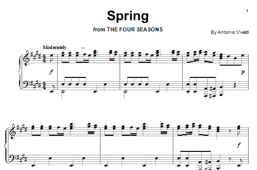 Download Antonio Vivaldi 'Spring (from The Four Seasons)' Digital Sheet Music Notes & Chords and start playing in minutes