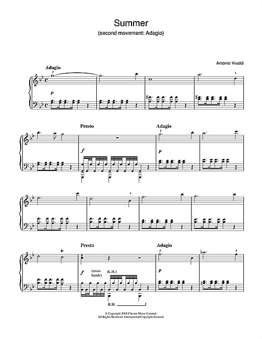 Download Antonio Vivaldi 'Summer (2nd Movement: Adagio)' Digital Sheet Music Notes & Chords and start playing in minutes