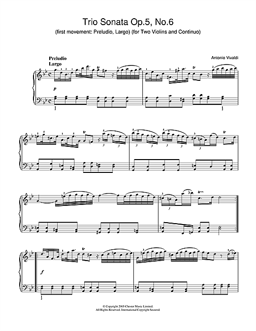 Download Antonio Vivaldi 'Trio Sonata Op.5, No.6 (1st Movement: Preludio, Largo) (for Two Violins and Continuo)' Digital Sheet Music Notes & Chords and start playing in minutes