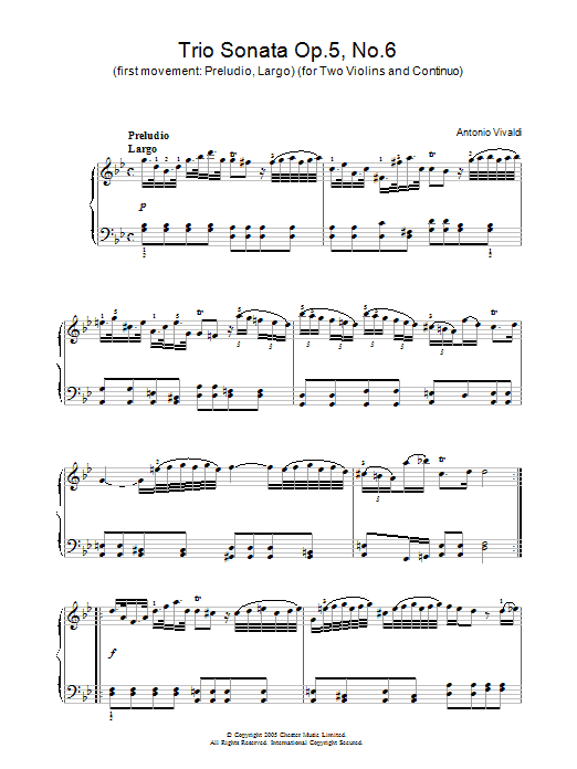 Antonio Vivaldi Trio Sonata Op.5, No.6 (1st Movement: Preludio, Largo) (for Two Violins and Continuo) sheet music preview music notes and score for Piano including 2 page(s)