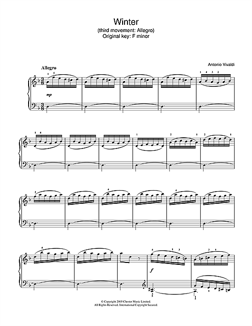 Download Antonio Vivaldi 'Winter (3rd Movement: Allegro)' Digital Sheet Music Notes & Chords and start playing in minutes